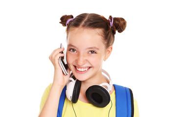 Schoolgirl talking on the phone