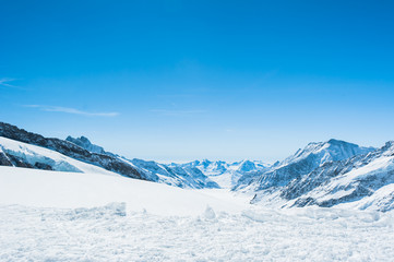 Snow Mountain Landscape with Blue Sky from Jungfrau Region and s