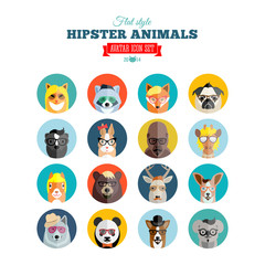 Flat Style Hipster Animals Avatar Vector Icon Set for Social