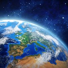 Obraz Planeta Ziemia w przestrzeni kosmicznej - fototapety do salonu
