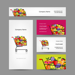 Business cards design, trolley with fruits