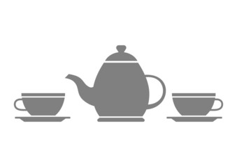 Grey teapot and teacup on white background