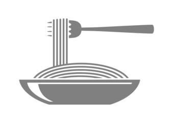 Grey spaghetti icon on white background