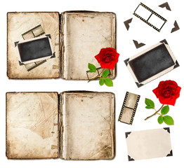 old book, photo frameds and red rose flower. scrapbook elements