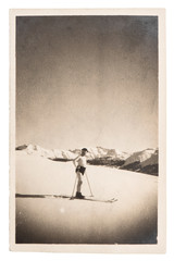 vintage photo from skiing man. antique picture ca. 1929