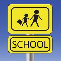 yellow school sign