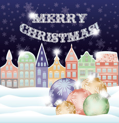 Happy Merry Christmas background with winter city and xmas balls