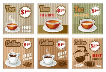 Set of coffee and tea menu card. vector illustration