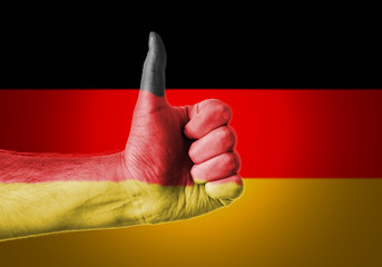 Flag Of Germany Painted On A Man's Hand