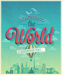 Wall Mural - Around the world poster.