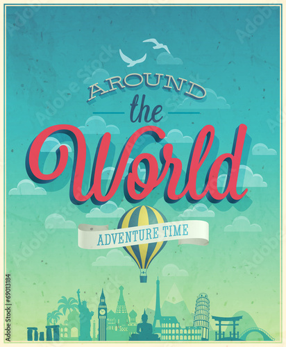 Wall mural Around the world poster.