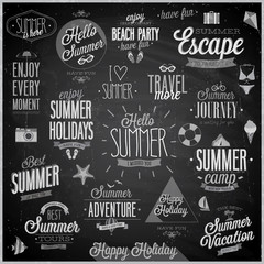 Wall Mural - Summer and Travel set - labels and emblems - Chalkboard.