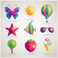 Wall Mural - Summer set - geometric icons.