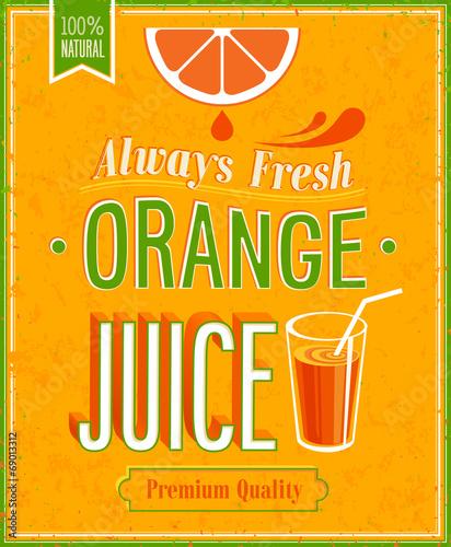 Wall mural Vintage Orange Juice Poster.