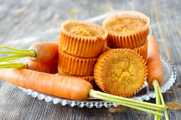 Orange healthy muffins with carrot