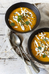cream of pumpkin and carrot soup  with sour cream
