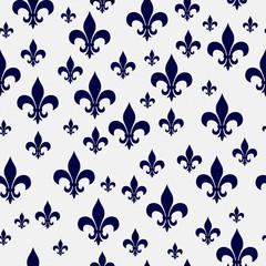Navy Blue and White Fleur-de-lis Pattern Repeat Background