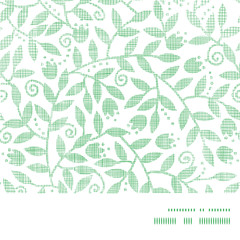Leaves and swirls textile horizontal frame seamless pattern