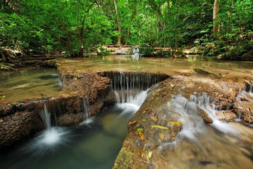 Aluminium Prints Mills Waterfall with blue stream in the nature Thailand forest