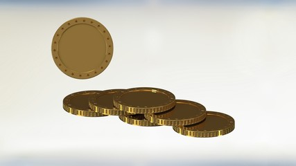 stack of  gold coin against white background