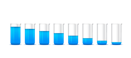 Illustration of chemical beakers with blue solution