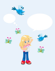 Little girl with bird and butterfly, art vector