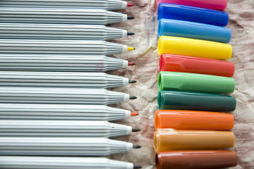 close up colored pen