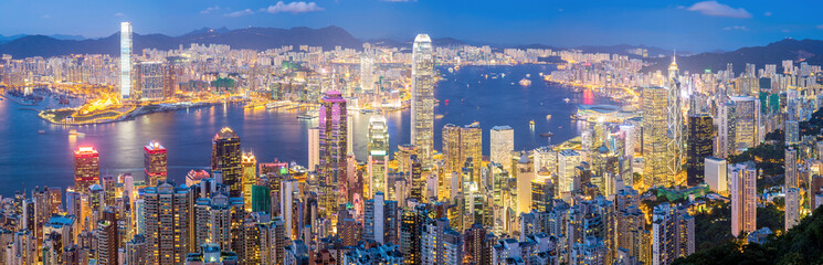 Photo sur Aluminium Hong-Kong Hong Kong Skyline at Dusk Panorama