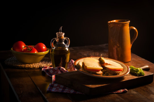 still life pa amb oli ingredients typical of Mallorca, Spain