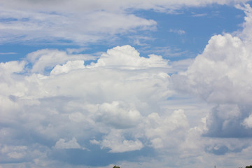 blue sky with cloud closeup, with copyspace