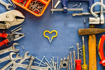 Different tools background and love symbol