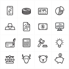 Flat Line Icons For Finance Icons and Business Icons