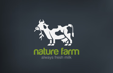 Cow Logo silhouette vector design. Fresh Natural Milk