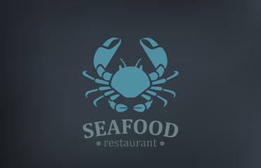 Seafood Restaurant Logo vector design. Crab Logotype
