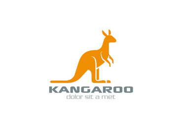 Kangaroo Logo vector design silhouette. Logotype for bag
