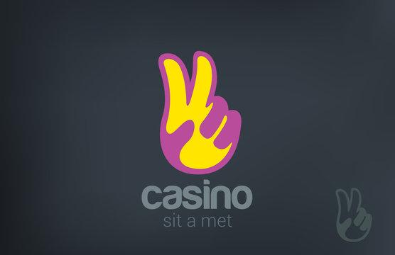 Logo Win Victory Casino vector. V hand symbol Winner