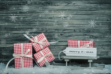 Winter background with christmas presents