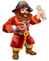 Cartoon pirate with treasure map