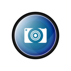 Camera glossy vector icon, blue button