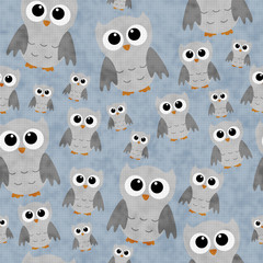 Gray Owls on Blue Textured Fabric Repeat Pattern Background