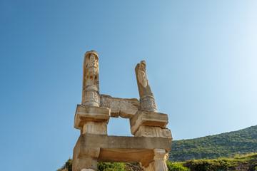 Ruins of pillars on Kuretes Street in Ephesus, Turkey.