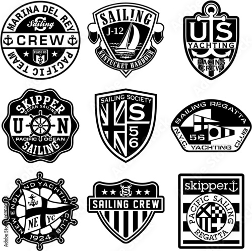 nautical badges vector collection in black and white stock image