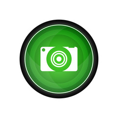 Camera glossy vector icon, green button
