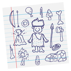 Vector outline image. Stone age cartoon primitive and weapon on