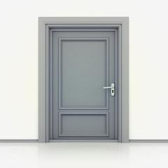isolated single classic closed door closeup 3D