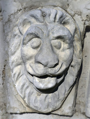 bas-relief head of a lion