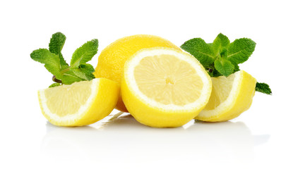 Three sliced lemons with mint isolated on a white background