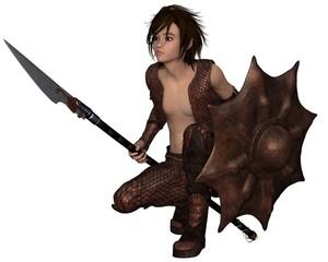 Dragon Warrior Boy - Crouching