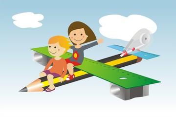 Avión y material escolar y niñas 2