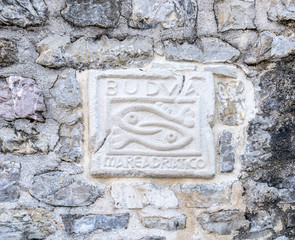 Symbol city walls of Budva Montenegro